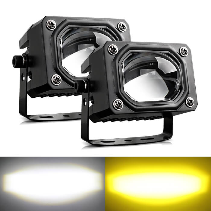 Motocycle Off Road External Dual-Color Flashing Led Driving Light with Big Lens JG-993B