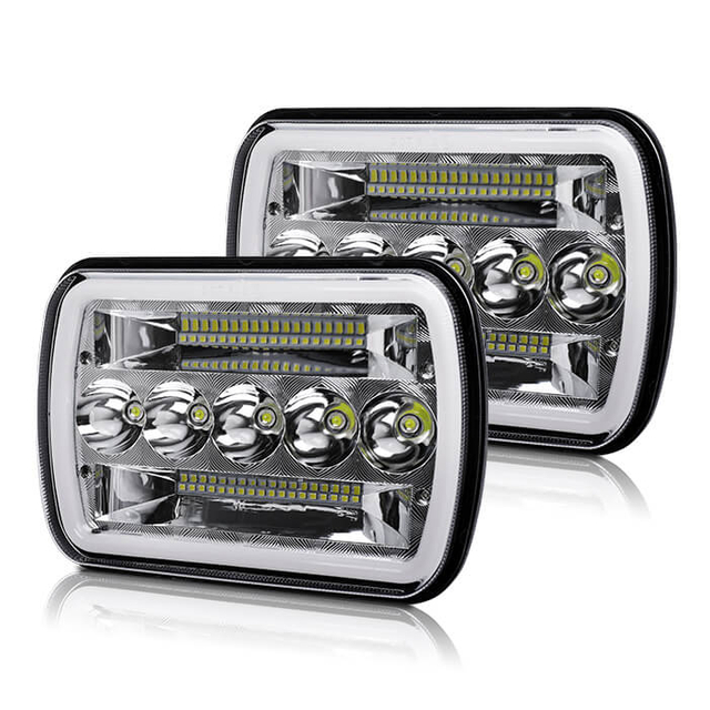7x6 Angel Eyes DRL Led Square Headlight for Truck JG-1003-HP