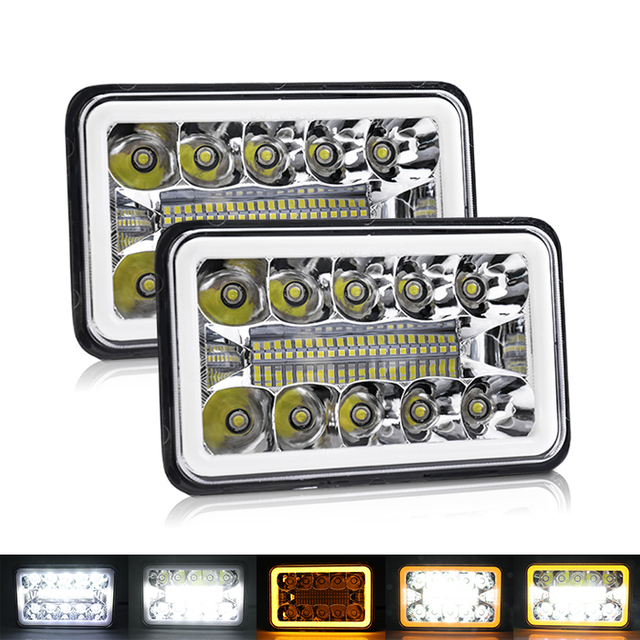 4x6 Muti-Colors Angel Eyes Square Led Headlight JG-1002-HP